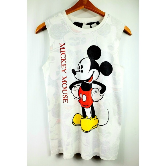 a6dd9a1f1 Disney Tops | Mickey Mouse Graphic Sleeveless Top White M | Poshmark